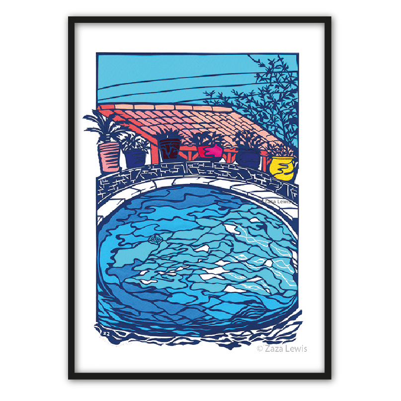 Poolside reflections_framed