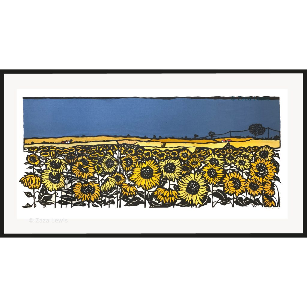 Sunflower field in stormy sky