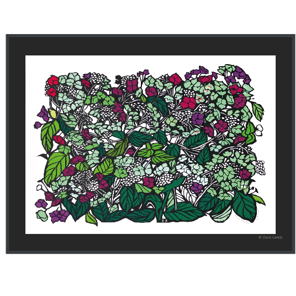 Hydrangeas, Lacecap, flowers, art, papercut, original art, embroidery