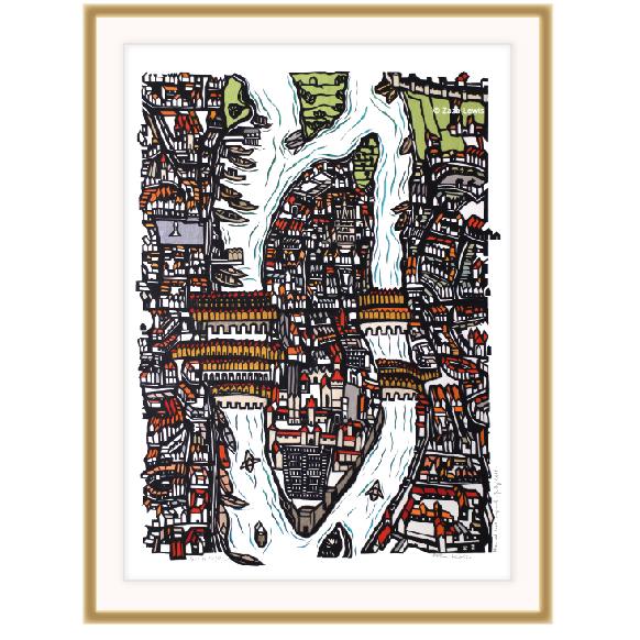 Paris, fabric, Ile de la Cité, antique map, papercut
