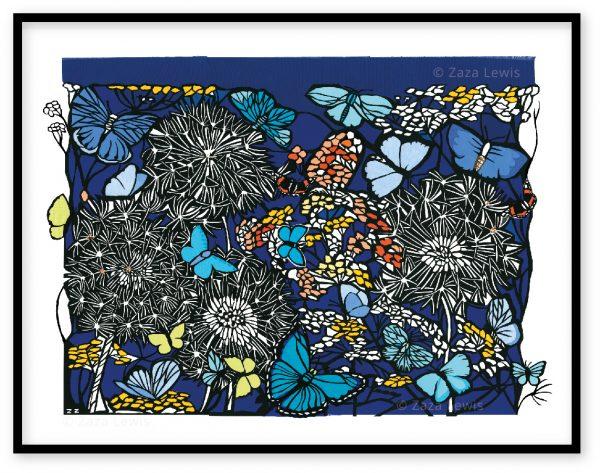 Dandelions and butterflies_framed
