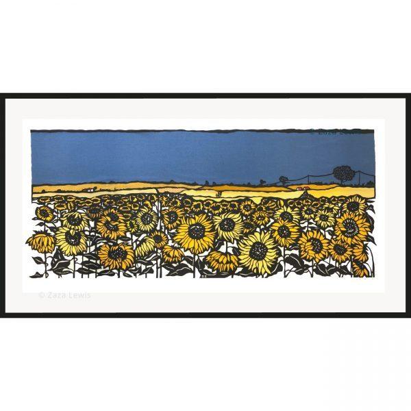 Sunflower field in stormy sky