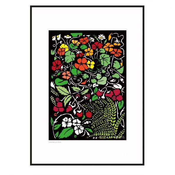 berries_nasturtium_A3 Framed